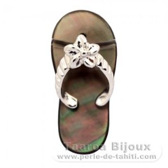 Mother-of-Pearl and Rhodiated Sterling Silver Sandal - Free Gift for purchases over 300 Euros