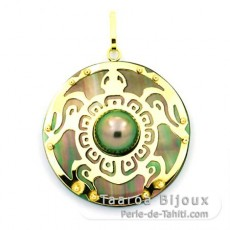 18K Gold + Mother-of-Pearl Pendant and 1 half Tahitian Pearl - Diameter = 27 mm - Turtle