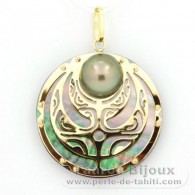 18K Gold + Mother-of-Pearl Pendant and 1 half Tahitian Pearl - Diameter = 27 mm - Power