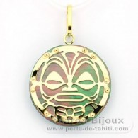 18K Gold and Tahitian Mother-of-Pearl Pendant - Diameter = 21 mm - Mana