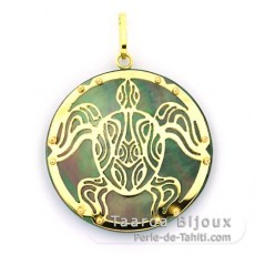 18K Gold and Tahitian Mother-of-Pearl Pendant - Diameter = 27 mm - Turtle