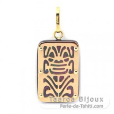 18K Gold and Tahitian Mother-of-Pearl Pendant - Dimensions = 18 X 12 mm - Longevity