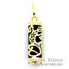 18K Gold Pendant and Black Agate - 17 mm - Gecko