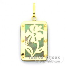 18K Gold and Tahitian Mother-of-Pearl Pendant - Dimensions = 24 X 16 mm - Hibiscus
