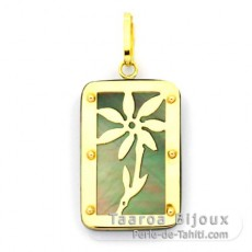 18K Gold and Tahitian Mother-of-Pearl Pendant - Dimensions = 24 X 16 mm - Tiar�