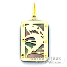18K Gold and Tahitian Mother-of-Pearl Pendant - Dimensions = 24 X 16 mm - Shark
