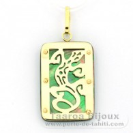 18K Gold and Tahitian Mother-of-Pearl Pendant - Dimensions = 24 X 16 mm - Gecko