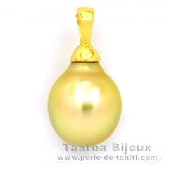 18K solid Gold Pendant and 1 Australian Pearl Semi-Baroque B 11.1 mm