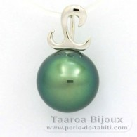 18K Solid White Gold Pendant and 1 Tahitian Pearl Round B+ 10.4 mm