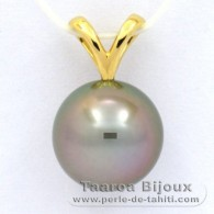 18K solid Gold Pendant and 1 Tahitian Pearl Round A 9.9 mm