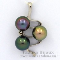 Rhodiated Sterling Silver Pendant and 3 Tahitian Pearls Round C+ from 9.8 to 9.9 mm