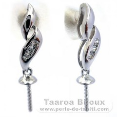 Earrings for pearls from 8 to 11 mm - Silver .925 - Settings for pearls