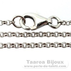 Rhodiated Sterling Silver Chain - Length = 40 cm - 16'' / Diameter = 1.7 mm
