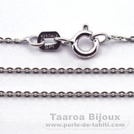 "Silver .925 Rhodium Chain - Length = 40 cm - 16"" - Diameter = 1 mm"