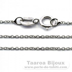 Rhodiated Sterling Silver Chain - Length = 45 cm - 18'' / Diameter = 1 mm