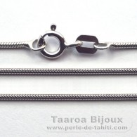Rhodiated Sterling Silver Chain - Length = 40 cm - 16'' - Diameter = 1 mm