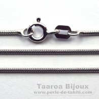 "Silver .925 Rhodium Chain - Length = 45 cm - 18"" - Diameter = 1.05 mm"
