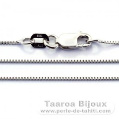 Silver Rhodium Chain - Length = 40 cm - 16'' / Diameter = 0.6 mm
