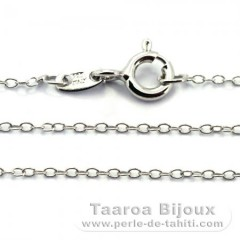 Rhodiated Sterling Silver Chain - Length = 50 cm - 20'' / Diameter = 1.3 mm
