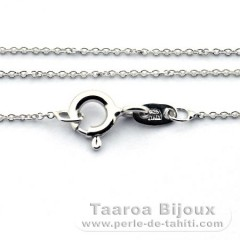 Rhodiated Sterling Silver Chain - Length = 45 cm - 16'' / Diameter = 0.8 mm