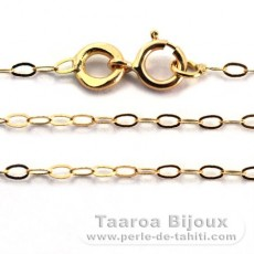 18K Solid Gold Chain - Length = 40 cm - 16'' / Diameter = 1.3 mm