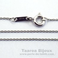"18K Solid White Gold Chain - Length = 42 cm - 16.5"" - Diameter = 0.9 mm"