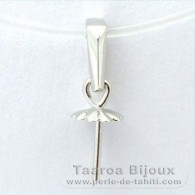 .925 Solid Silver + Rhodium Pendant for 1 Pearl from 8 to 12 mm