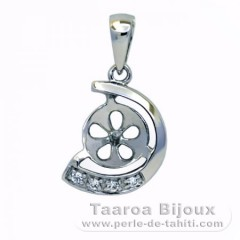 .925 Solid Silver + Rhodium Pendant for 1 Pearl from 7 to 9 mm