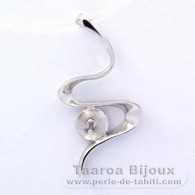 .925 Solid Silver + Rhodium Pendant for 1 Pearl from 9 to 10 mm - Setting for pearls
