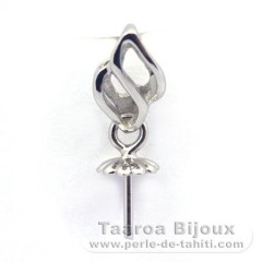 Rhodiated Sterling Silver + Rhodium Pendant for 1 Pearl from 9 to 11.5 mm