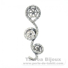.925 Solid Silver + Rhodium Pendant for 3 Pearls from 8.5 mm