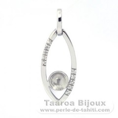 Rhodiated Sterling Silver + Rhodium Pendant for 1 Pearl from 8 to 9.5 mm