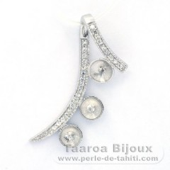 .925 Solid Silver + Rhodium Pendant for 3 Pearls from 8 mm