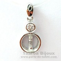 .925 Solid Silver + Rhodium Pendant for 1 Pearl from 8 to 10 mm - Setting for pearls