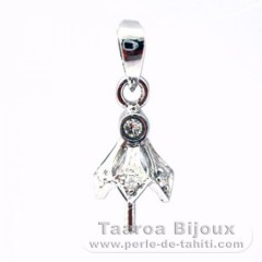 Rhodiated Sterling Silver + Rhodium Pendant for 1 Pearl from 8 to 10 mm
