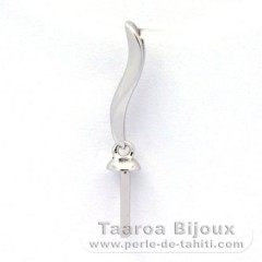 Rhodiated Sterling Silver + Rhodium Pendant for 1 Pearl from 8 to 13 mm
