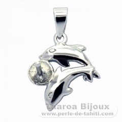 Rhodiated Sterling Silver + Rhodium Pendant for 1 Pearl from 6 to 8 mm