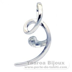 Rhodiated Sterling Silver + Rhodium Pendant for 1 Pearl from 8.5 to 10 mm