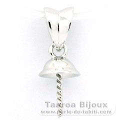 Rhodiated Sterling Silver Pendant for 1 Pearl from 9 to 14 mm