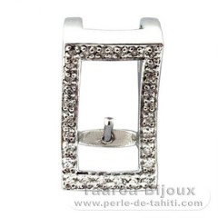 Rhodiated Sterling Silver Pendant for 1 Pearl from 6 to 8 mm