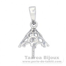 Rhodiated Sterling Silver Pendant for 1 Pearl from 11 to 14 mm