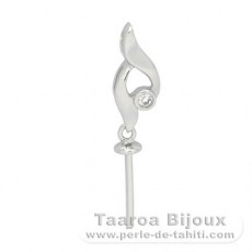 Rhodiated Sterling Silver Pendant for 1 Pearl from 10 to 12 mm