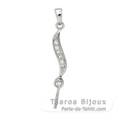 Rhodiated Sterling Silver Pendant for 1 Pearl from 9 to 12 mm
