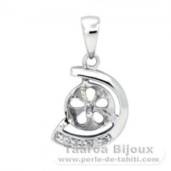 Rhodiated Sterling Silver Pendant for 1 Pearl from 7 to 9 mm