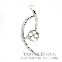 Rhodiated Sterling Silver Pendant for 1 Pearl from 8 to 10 mm