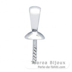 18K Solid White Gold Pendant for 1 Pearl from 8 to 12 mm