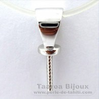 18K Solid White Gold Pendant for 1 Pearl from 10 to 13 mm - Setting for pearls